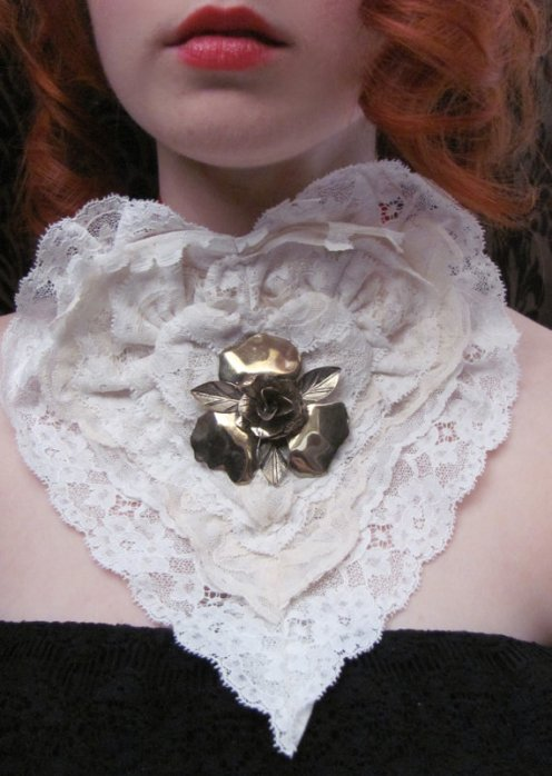 Vintage Lace Heart Choker by TheNavigatrix