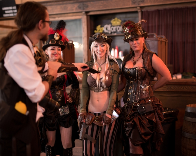 Hanging out with the Steamgirls. Image courtesy of Alternate History Photography