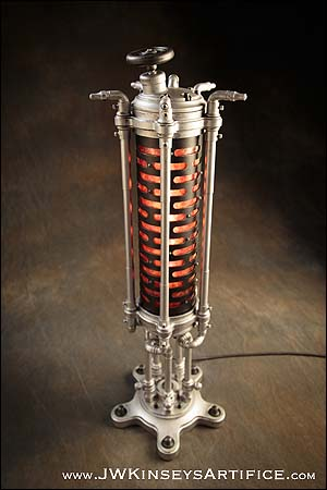 The Colchester Table Lamp: a handcrafted Dieselpunk accent light in Black and Nickel with Isinglass illumination